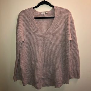 Madewell Light Pink V-Neck Knitted Sweater